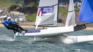 British Sailing Team, Nacra 17 sailing off Weymouth 2014 ©Paul Wyeth
