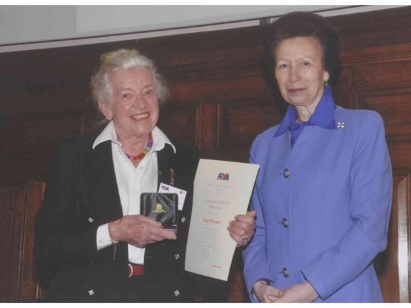 Jeny Newton receives her Lifetime Commitment RYA Volunteering Award from HRH The Princess Royal © Jeny Newton