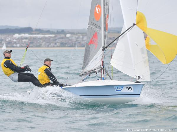 Defending World Champion, Mike Holt and Carl Smit on the charge at Weymouth © Christophe Favreau